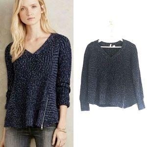 Anthro Moth Zipped Stitch V-Neck Pullover Sweater